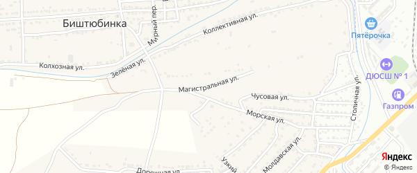 Магистральная улица на карте села Биштюбинка Астраханской области с номерами домов