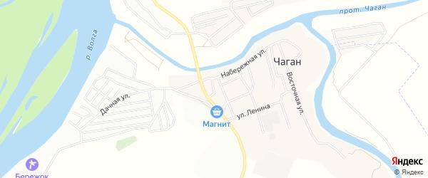 Садовое товарищество СДТ Геофизик-2 на карте села Чагана Астраханской области с номерами домов