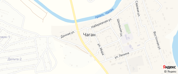 Школьная улица на карте села Чагана Астраханской области с номерами домов