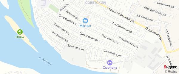 Тракторная улица на карте Астрахани с номерами домов