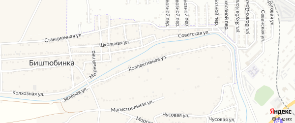 Коллективная улица на карте села Биштюбинка Астраханской области с номерами домов
