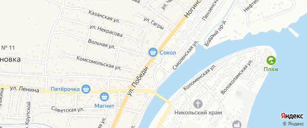 Степной переулок на карте села Старокучергановка Астраханской области с номерами домов