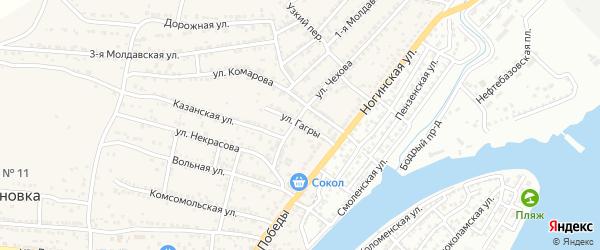 Улица Гагры на карте села Старокучергановка Астраханской области с номерами домов