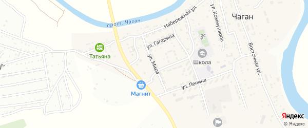Улица Мира на карте села Чагана Астраханской области с номерами домов