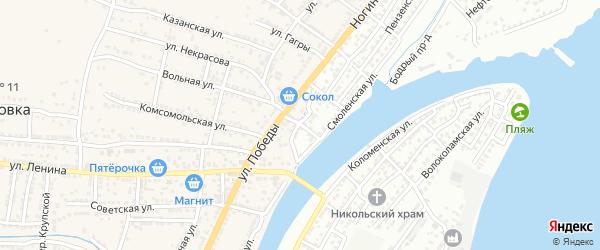 Степной переулок на карте Астрахани с номерами домов