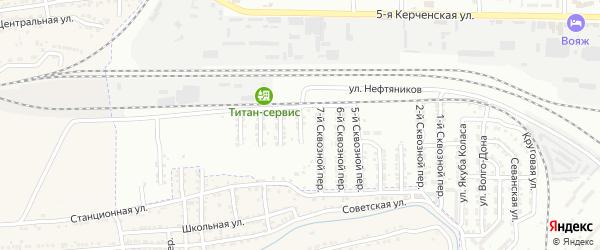 Сквозной 8-й переулок на карте Астрахани с номерами домов