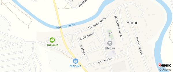 Улица Гагарина на карте села Чагана Астраханской области с номерами домов