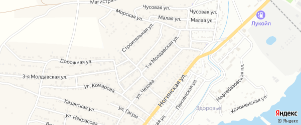 Молдавская 1-я улица на карте села Старокучергановка Астраханской области с номерами домов