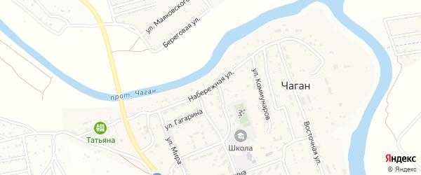 Набережная улица на карте села Чагана Астраханской области с номерами домов
