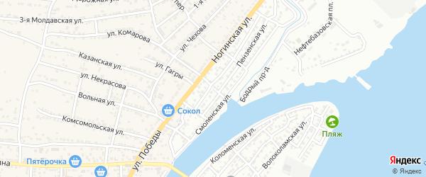 Пожарный переулок на карте Астрахани с номерами домов