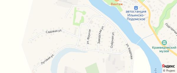 Улица Фрунзе на карте Ильинско-Подомского села Архангельской области с номерами домов