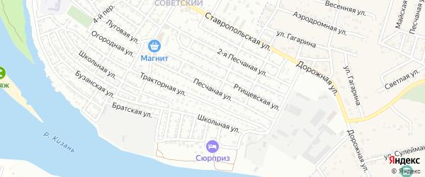 Песчаная улица на карте села Карагали Астраханской области с номерами домов