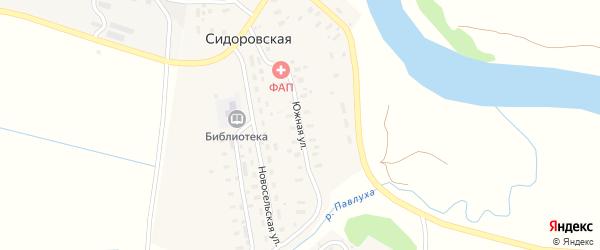 Южная улица на карте Сидоровской деревни Архангельской области с номерами домов