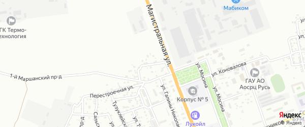 Поволжский 1-й переулок на карте Астрахани с номерами домов