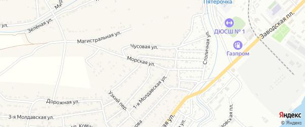 Морская улица на карте села Старокучергановка Астраханской области с номерами домов