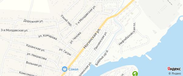 Ногинская улица на карте Астрахани с номерами домов
