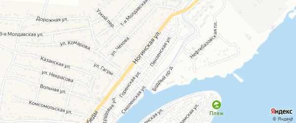Пензенский переулок на карте Астрахани с номерами домов