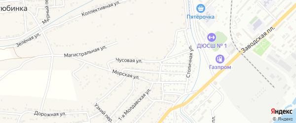 Чусовая улица на карте села Старокучергановка Астраханской области с номерами домов