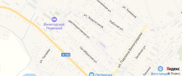 Мелиоративная улица на карте Ильинско-Подомского села Архангельской области с номерами домов
