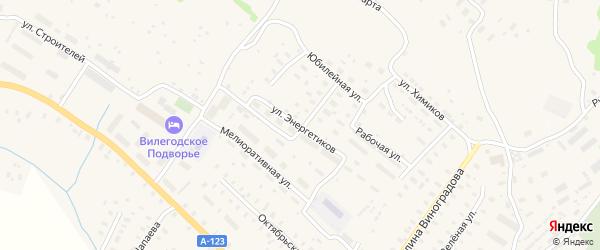 Улица Энергетиков на карте Ильинско-Подомского села Архангельской области с номерами домов