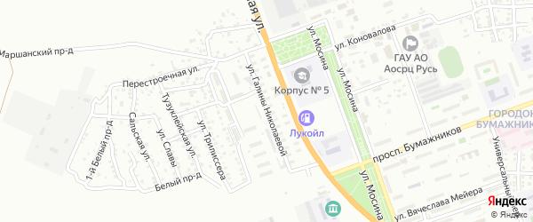 Улица Галины Николаевой на карте Астрахани с номерами домов