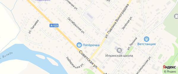 Октябрьская улица на карте Ильинско-Подомского села Архангельской области с номерами домов