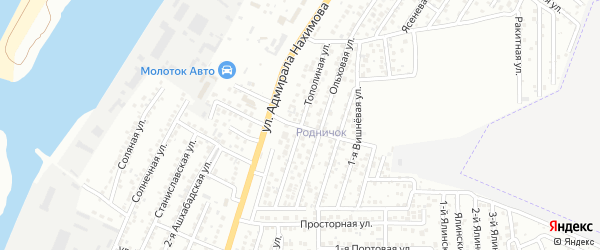 Тополиная улица на карте Астрахани с номерами домов