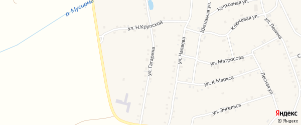 Улица Гагарина на карте села Мусирмы с номерами домов