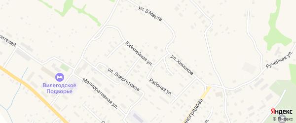 Юбилейная улица на карте Ильинско-Подомского села Архангельской области с номерами домов