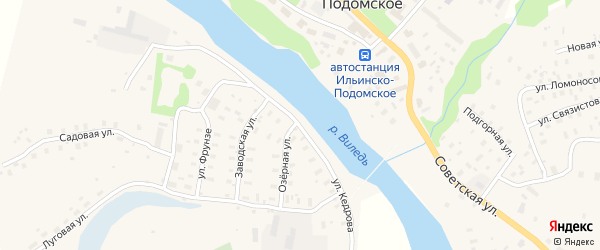 Улица Кедрова на карте Ильинско-Подомского села Архангельской области с номерами домов