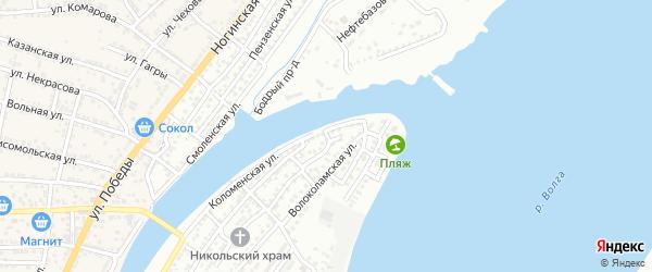 Волжский 2-й переулок на карте Астрахани с номерами домов