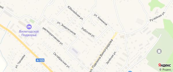 Рабочая улица на карте Ильинско-Подомского села Архангельской области с номерами домов