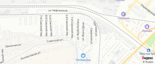 Улица Якуба Коласа на карте Астрахани с номерами домов