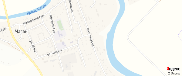 Восточная улица на карте села Чагана Астраханской области с номерами домов