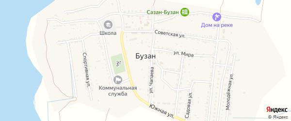 Спортивный переулок на карте поселка Бузана Астраханской области с номерами домов