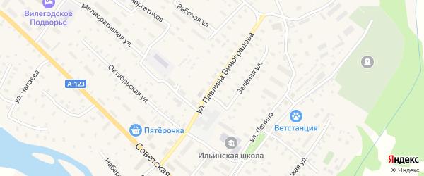 Улица П.Виноградова на карте Ильинско-Подомского села с номерами домов