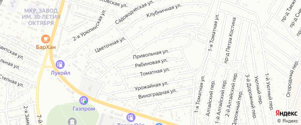 Рябиновая улица на карте Астрахани с номерами домов