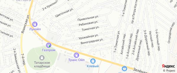 Урожайная улица на карте Астрахани с номерами домов