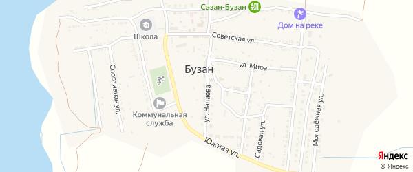 Улица Чапаева на карте поселка Бузана Астраханской области с номерами домов