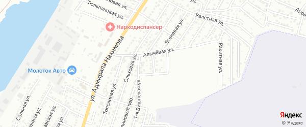 Вишневый переулок на карте Астрахани с номерами домов