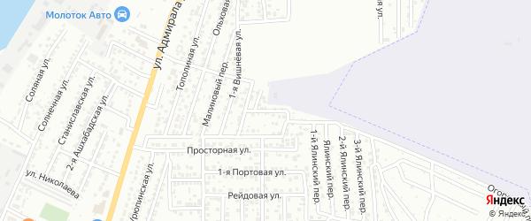 1-й Вишневый переулок на карте Астрахани с номерами домов
