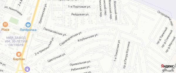 Клубничная улица на карте села Карагали Астраханской области с номерами домов