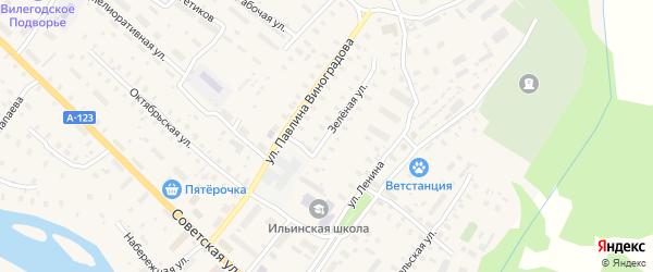 Зеленая улица на карте Ильинско-Подомского села Архангельской области с номерами домов