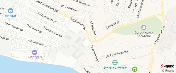 Дорожная улица на карте села Карагали Астраханской области с номерами домов