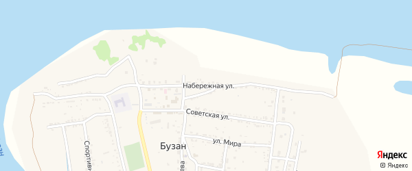 Набережная улица на карте поселка Бузана Астраханской области с номерами домов