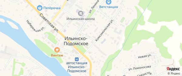 Пионерская улица на карте Ильинско-Подомского села Архангельской области с номерами домов