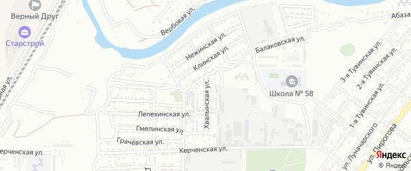 Хвалынская улица на карте Астрахани с номерами домов