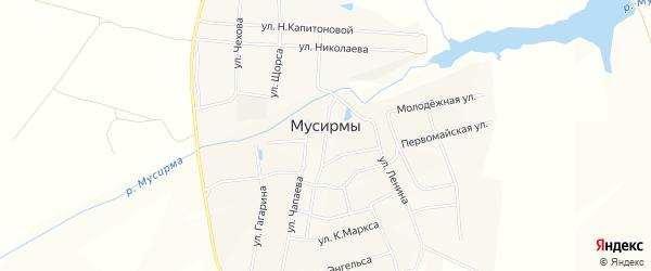 Карта села Мусирмы в Чувашии с улицами и номерами домов