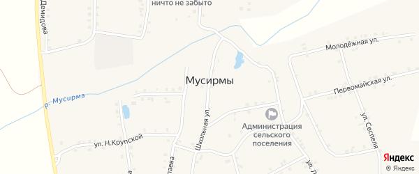 Овражная улица на карте села Мусирмы Чувашии с номерами домов