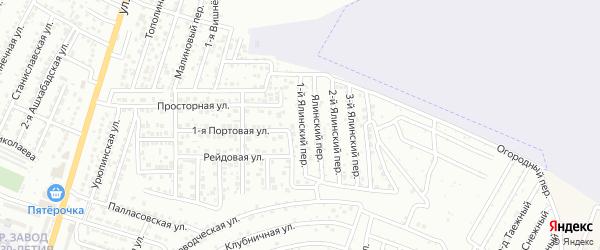 Ялинский 1-й переулок на карте Астрахани с номерами домов